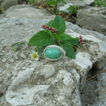 Wire Wrap Ring Green Chrysoprase 925 Sterling Silver Size 8 Handmade Heady Jewelry Chrysophrase Kynd Valley