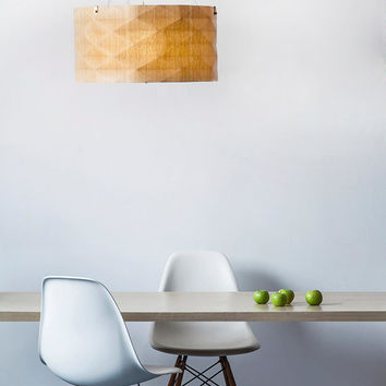 Contemporary Hanging lamp designed and unique, made of veneer, warm light and natural