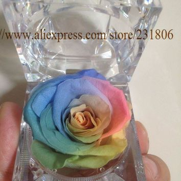 DCCKL6D Free shipping,Preserved rose eternal flower ring box colorful roses,Key chain,Valentine's Day gift,natural,real.Christmas gift