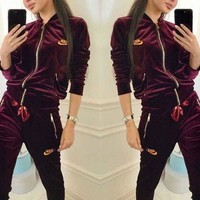 NIKE New Fashion Sports Suit Velvet Zipper Two Piece Burgundy