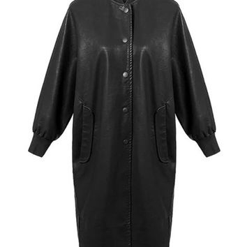 Black PU Crew Trim Long Baseball Coat