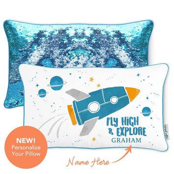 Space Pillow | Fly High & Explore Rocket Space Mermaid Pillow with Lake Blue & Silver Reversible Sequins