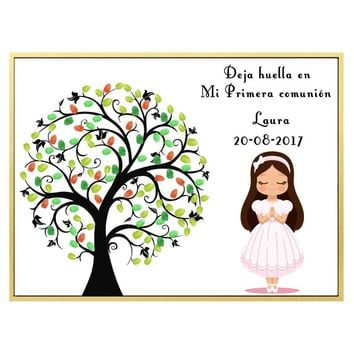 Personalized First Holy Communion Gift For Girl Christening Fingerprint Tree Guestbook Baptism Souvenir Print on Canvas & Inkpad