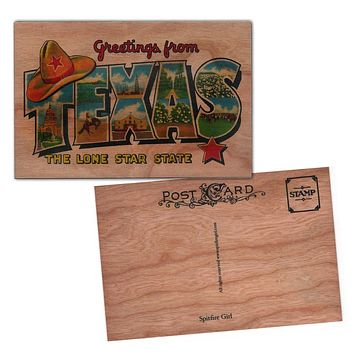Wood Postcard Texas