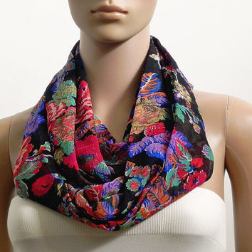 Black Infinity Scarf Shawl Soft Floral Fashion Scarves for Women Circle Cowl Scarf Tube Scarf Summer Scarf Gift for her Handmade Accessories