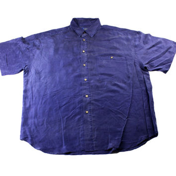 Vintage 1990s 90s Navy Blue Silk Short Sleeve Button Up Shirt Mens Retro Clothing Size XL