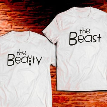 Beauty and The Beast Couple Shirts, Matching Couples Shirts, Beauty Beast 100% Cotton Tees