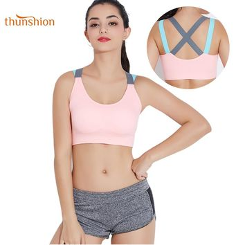 THUNSHION Breathable Female Sports Bra Top Sexy Cross Strap Push Up High Impact Running Bra for Fitness Yoga Gym Padded Bra