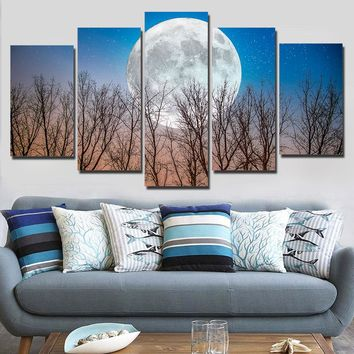 Full moon with trees 5 pieces panel wall art on canvas print picture poster