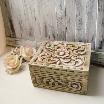 Antique Mint Ornate Jewelry Box, Shabby Chic Carved Wood Jewelry Holder, Mint and Pink Trinket Box, Bridesmaid Gift Box, Floral Wood Box