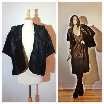 1950's Fur Stole by Phil's Passaic Ultra Soft Black Shrug with Floral Lining Classic Minimal Elegant One Size Fits Most