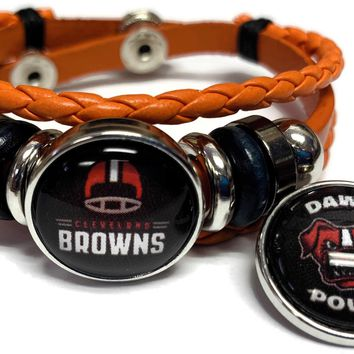 NFL Cleveland Browns Orange Leather Bracelet W/2 Football Logo Helmet Snap Jewelry Charms New Item