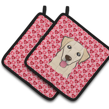 Golden Retriever Hearts Pair of Pot Holders BB5322PTHD