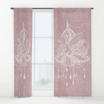 Blush mandala Window Curtains by printapix