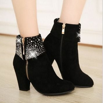 PEAPON Round head zipper high-heeled boots