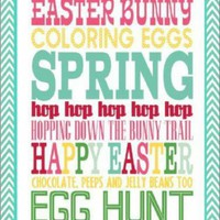 Happy Easter Bunny Coloring Eggs Spring Sign