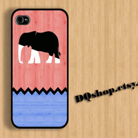 Chevron Elephant white Black Pink sky Wood - iPhone 4 Case iPhone 4s Case iPhone 5 Case