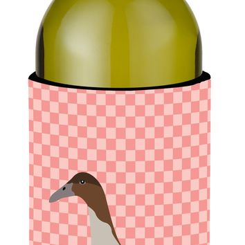Dutch Hook Bill Duck Pink Check Wine Bottle Beverge Insulator Hugger BB7861LITERK