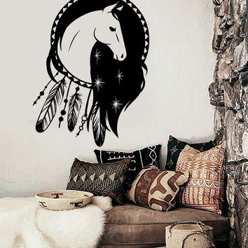 Vinyl Wall Decal Dreamcatcher Horse Ethnic Decor Talisman Stickers Unique Gift (ig3849)
