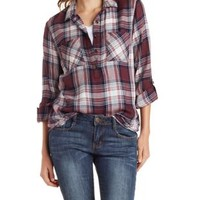 Combo Plaid Flannel Button-Up Shirt by Charlotte Russe
