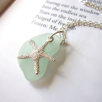 Fun nautical Jewelry for sisters, BFF, or a beach lover - Seafoam beachglass topped with starfish - FREE SHIPPING