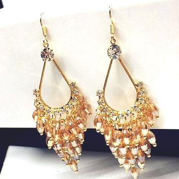 Champaign Crystal and Gold Chandelier Dangle Earrings