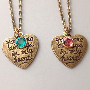 Birthstone Necklaces, You Are Always in My Heart Matching Necklaces, best friend necklace, couples jewelry, heart necklace,valentine's day