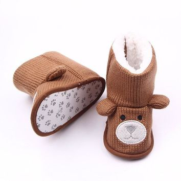 Warm and Soft Baby Animal Face Knit Crochet Boot Shoes