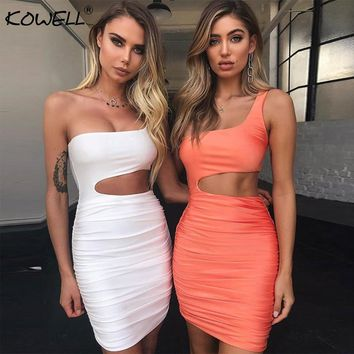 Kowell Off Shoulder Sexy Bodycon Bandage Dress Women Sexy Strapless Sleeveless Hollow Out Party Dresses Vestidos Summer Dress