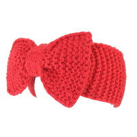 Red Bowknot Knitted Headband