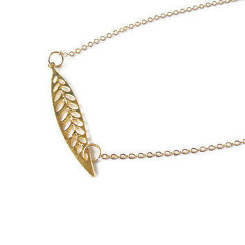 gold plated leaf necklace, minimalist jewelry, delicate gold plated necklace, birthday gift necklace