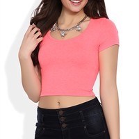 Neon Short Sleeve Basic Crop Top with Scoop Neck