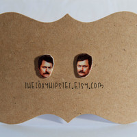Ron Swanson Stud Earrings,  gift idea, cool jewelry, unique, funky, Parks and Recreation, meat, mustache