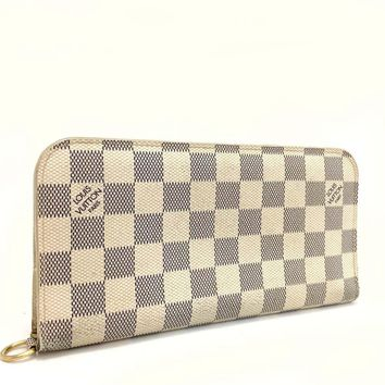 Authentic Louis Vuitton Damier Azur Porte Feuille Ansoritto Long Wallet /d792