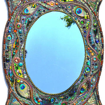 sold - Mosaic peacock mirror - mosaic art, Real peacock feather inlays