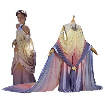 ONETOW Star Wars Padme Amidala Cosplay Costume long party dresses Halloween Costume for women adult Padme Princess Dress