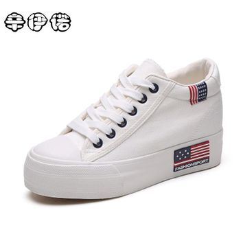 2017 Sale Classic White Superstar Canvas Women Shoes Espadrilles Spring Autumn Women's Wedges Lace-up Casual Platform 35-40