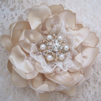 Light Champagne Satin and Lace Wedding Flower Hair Clip Bride, Mother of the Bride, Bridesmaids Prom with Pearl and Rhinestone Accent