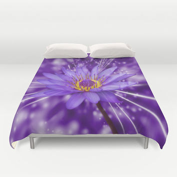 Duvet Cover - 3 different sizes to Choose From, Without Inserts, Bedroom, Home decor, 'Purple Lotus', Designer, Digital, Art