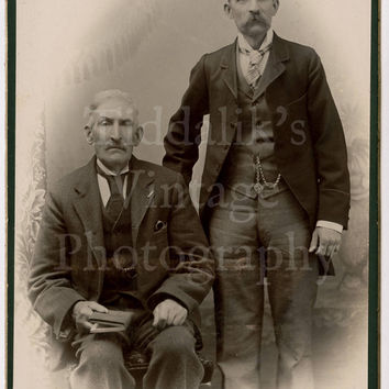 Cabinet Card Photo 2 Victorian Men Maybe Father and Son Portrait by Robinson of London England