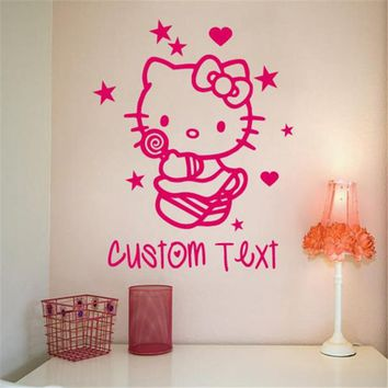 Custom made Cartoon children's room decorative wall stickers bedroom wall art hello kitty cat stickers Pierced tx-148