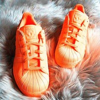 Adidas Fashion Shell-toe Flats Sneakers Sport Shoes Pure color Orange-1