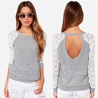 Tp Sky Women's Backless Long Sleeve Embroidery Lace Crochet Shirt Top Blouse