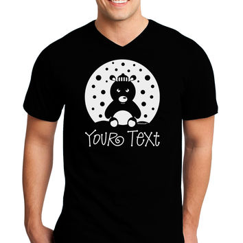 Personalized Matching Polar Bear Family Design - Your Text Adult Dark V-Neck T-Shirt