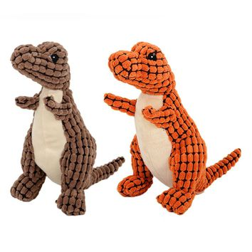 2017 Cute Fleece Plush Dinosaur Shape Dog Squeaker Squeaky Toy Dog Interacting Toys Dog Puppy Teeth Cleaning Chew Toys