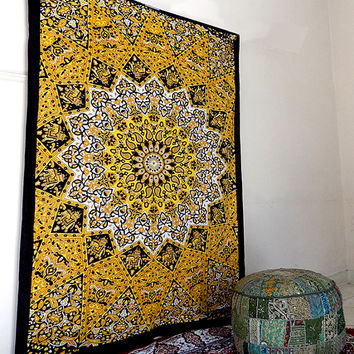 twin yellow psychedelic star mandala hippie tapestry boho bohemian wall tapestries wall hanging bedspread bedding throw ethnic home decor