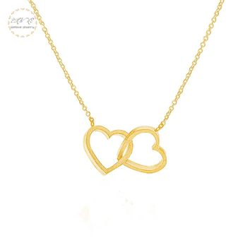 Opened Double Heart Necklace Women Love Jewelry Bridesmaid Gifts Stainless Steel Chain Lovers Necklaces Pendants Collar Femme