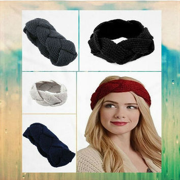 Women's Crochet Cable Knit Twist Pattern Knit Headband Ear Warmer