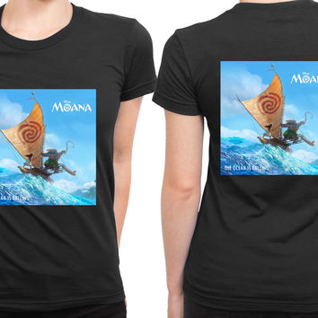 Moana Cover Ocean Is Calling 2 Sided Womens T Shirt