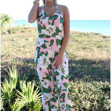 Pink Floral Print Sleeveless Jumpsuit